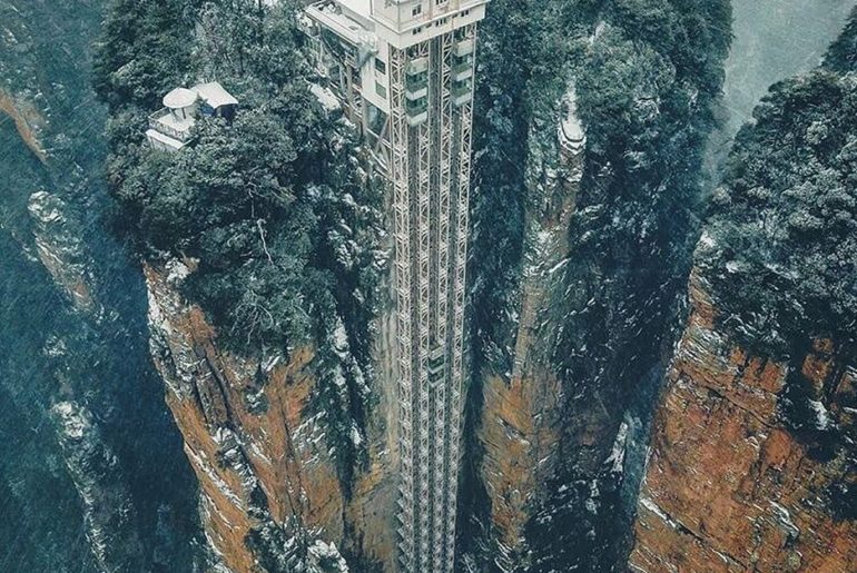 The amazing Bailong Elevator in Zhangjiajie, China! This elevator is just crazy,...