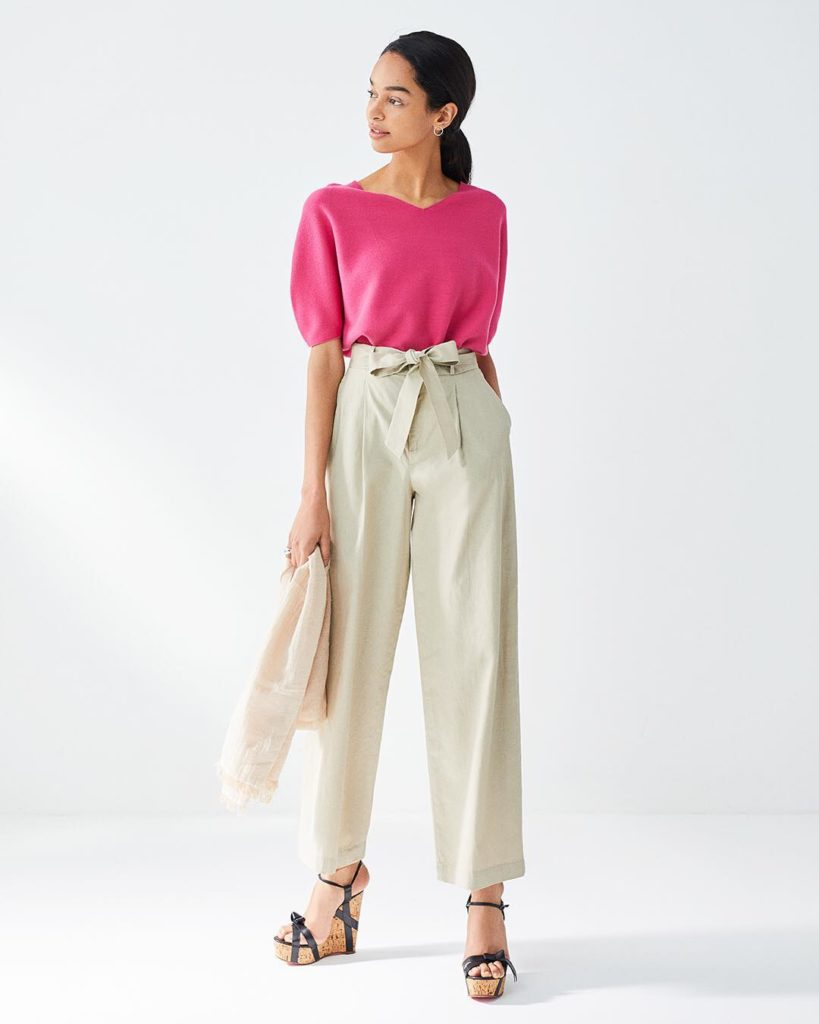 our popular wide leg trousers offer versatile styling with or without the tie be...