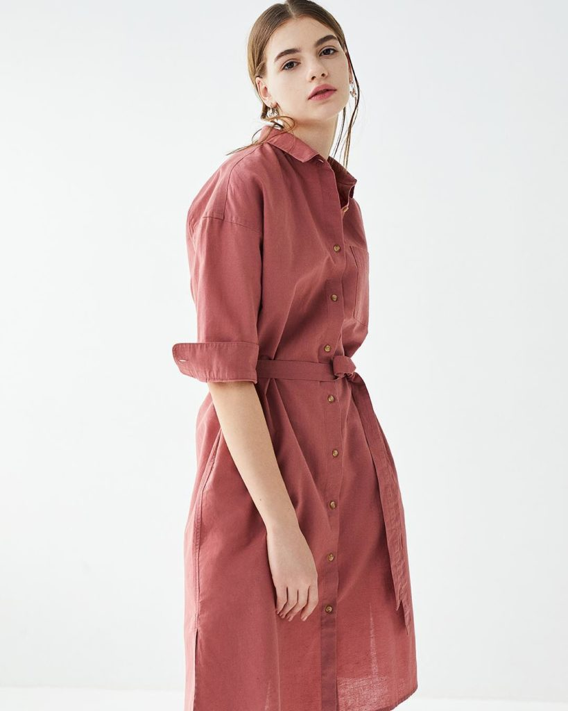 In a lightweight, soft cotton blend, this shirt dress can be styled as a dress o...