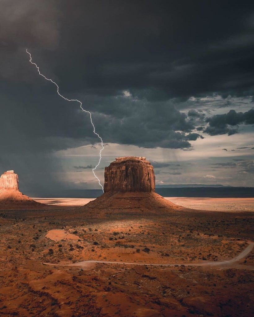 """""""The Southwest desert is always full of surprises. A dramatic sunset on the left..."""