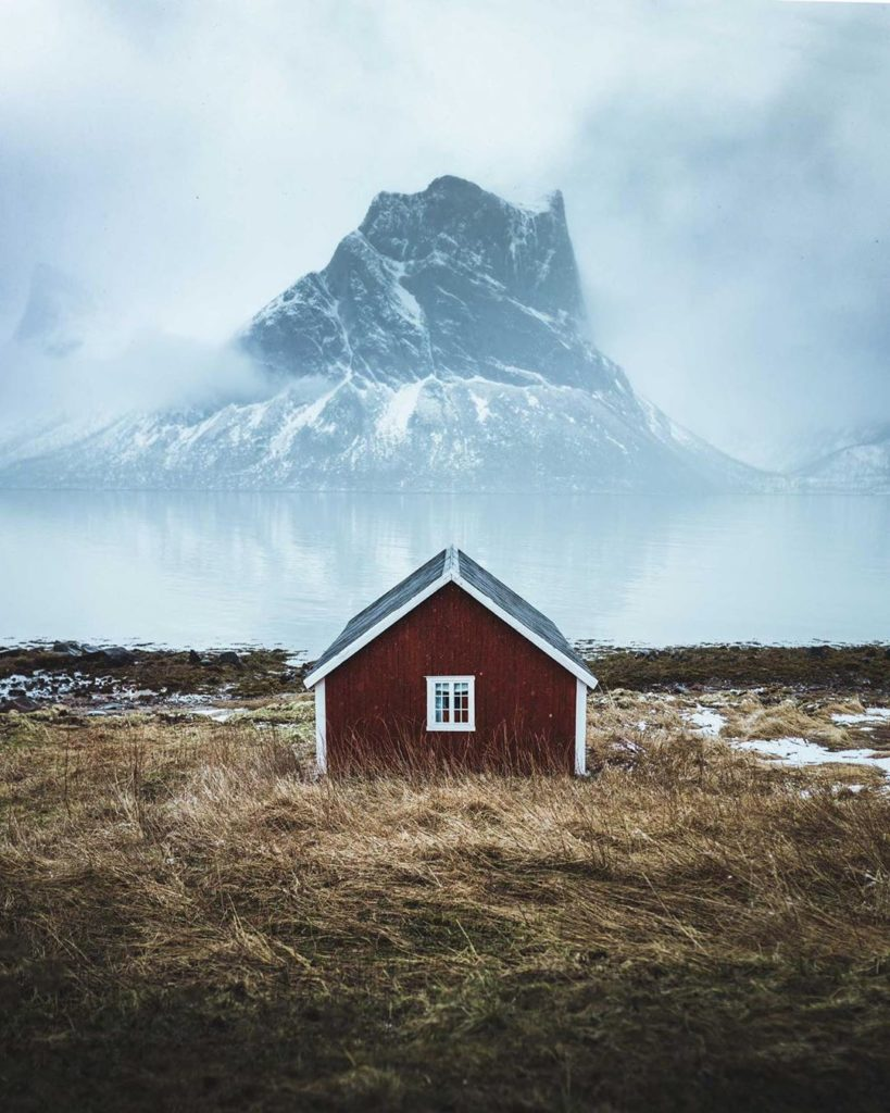 Swipe to see what you might find in the waters behind this Norwegian Hut. Photog...