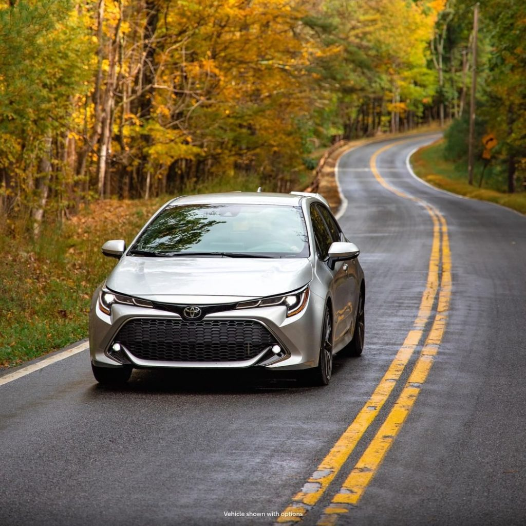 Just you and the open road on a crisp Fall day! #Corolla Hatchback. #LetsGoPlace...