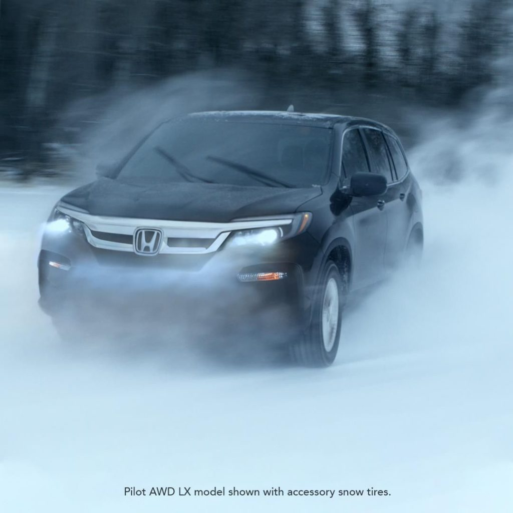 Snow shouldn't stop your road trips in the #HondaPilot....